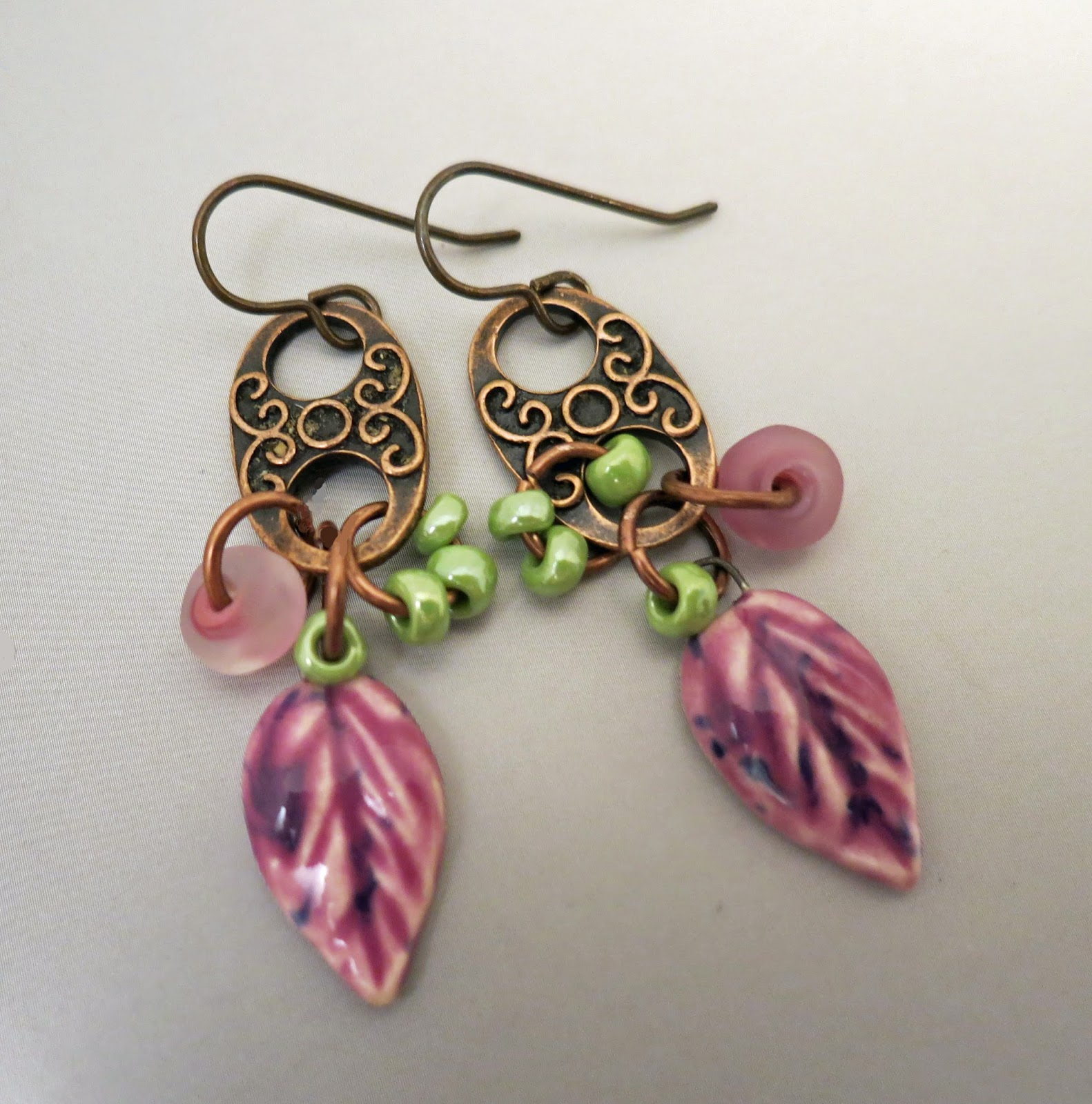 dangled nice with links beads purple the and fall botanicals from have some glass leaves etched everyday green seed movement lime a along lampwork earrings i