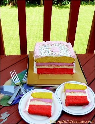 Lemon Raspberry Ice Cream Cake, a cool summer treat | Recipe developed by www.BakingInATornado.com | #recipe #dessert