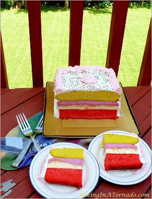 Lemon Raspberry Ice Cream Cake, a cool summer treat | Recipe developed by www.BakingInATornado.com | #recipe #dessert