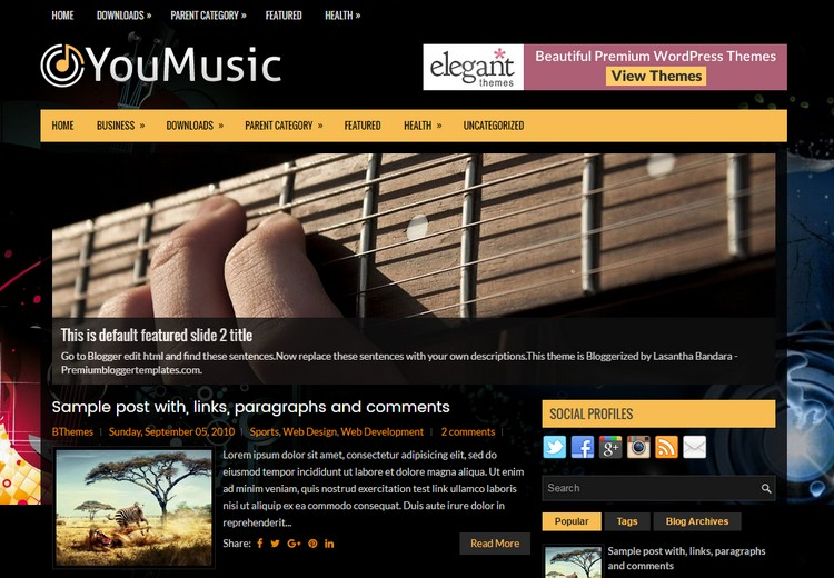 Youmusic Blogger Template with sample post
