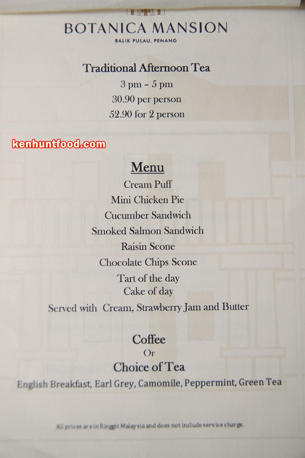 Botanica Mansion Restaurant Menu
