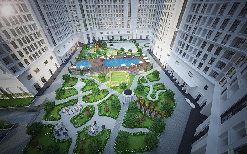 Tổng thể sân vườn dự án The Emerald
