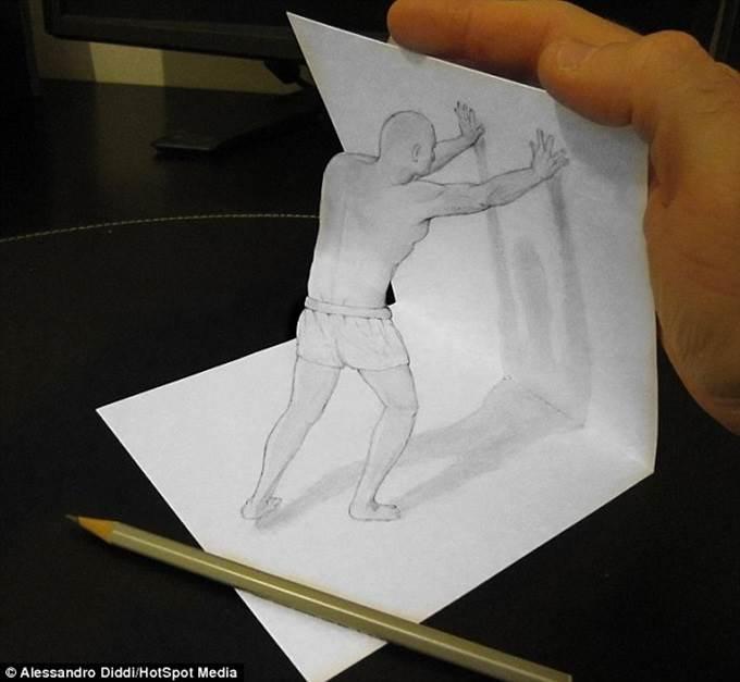 lukisan 3d pensil dan kertas