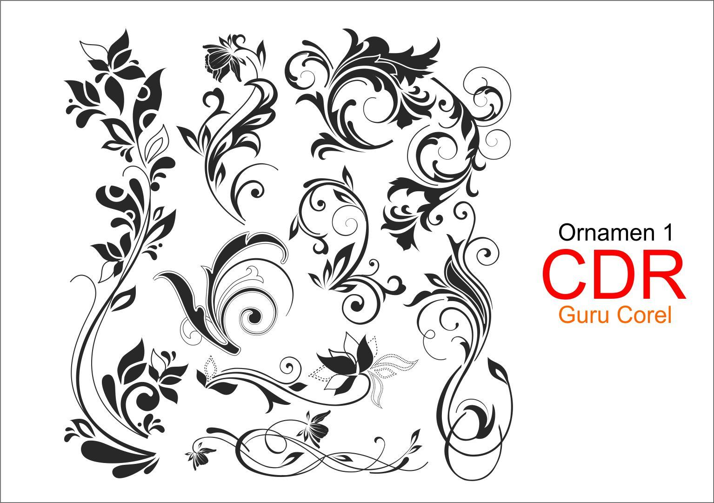 Vector Ornamen Batik Free CDR | Ornamen 1 | Guru Corel