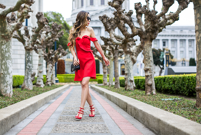 Topshop bardot ruffle mini dress, red off shoulder dress, valentino rock stud, karen walker super duper sunglasses, Baublebar earrings, chanel classic flap bag, san francisco street style, san francisco fashion blog, date night outfit ideas