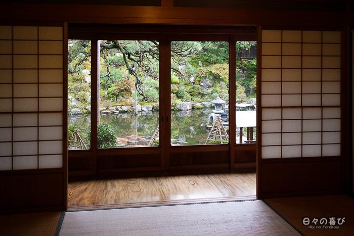 Vue sur le jardin, maison Ishitani, Chizu, Tottori