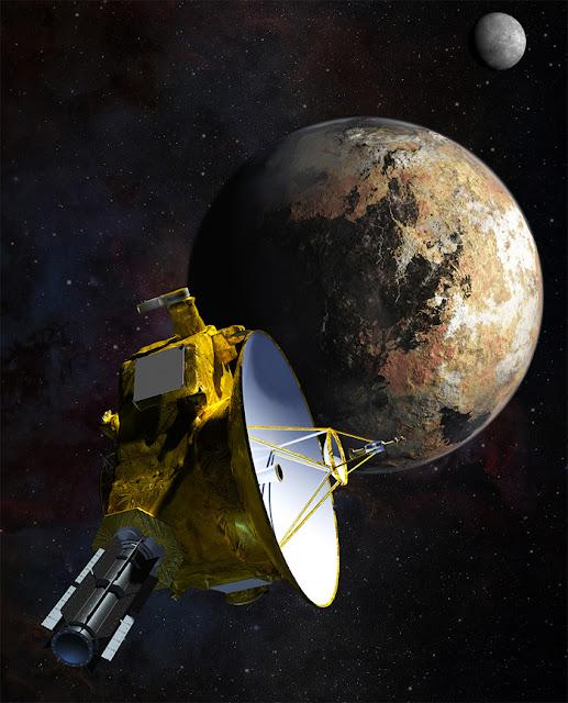 Ilustração artística da sonda New Horizons durante sobrevoo em Plutão e Caronte