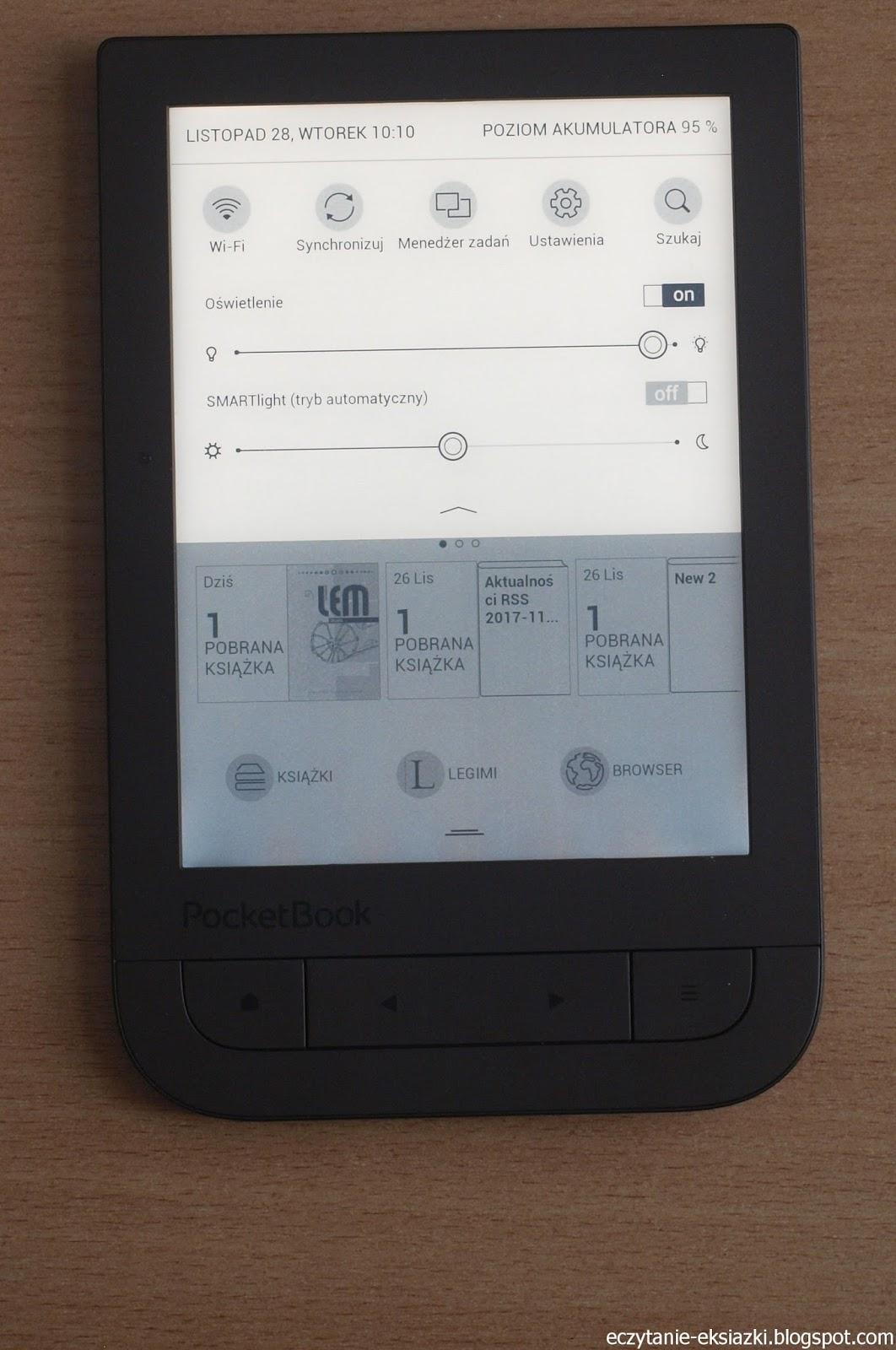 PocketBook TouchHD2 z ustawianą średnią barwą podświetlenia