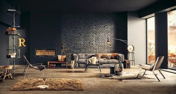 Interior Decoration Ideas Wall Steel Furniture Dark Organic