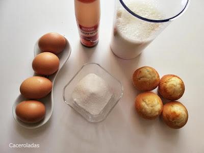Ingredientes para pudin de magdalenas