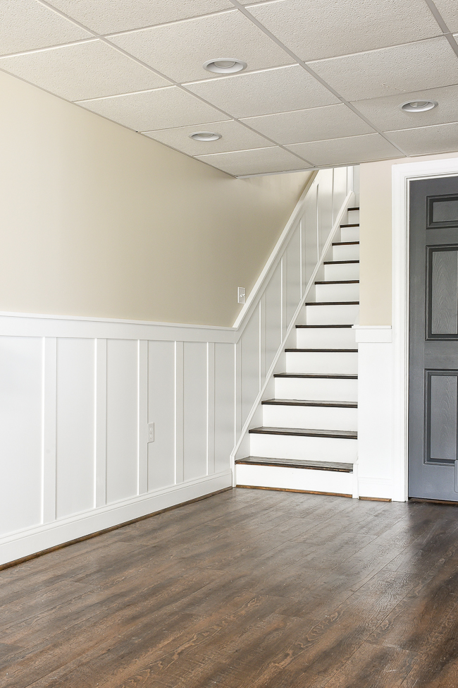 Do It Yourself Beautiful Staircase Board And Batten Little | Chair Rail On Stairs | Double | Traditional | Stained Wood | Remodeling | Wainscoting