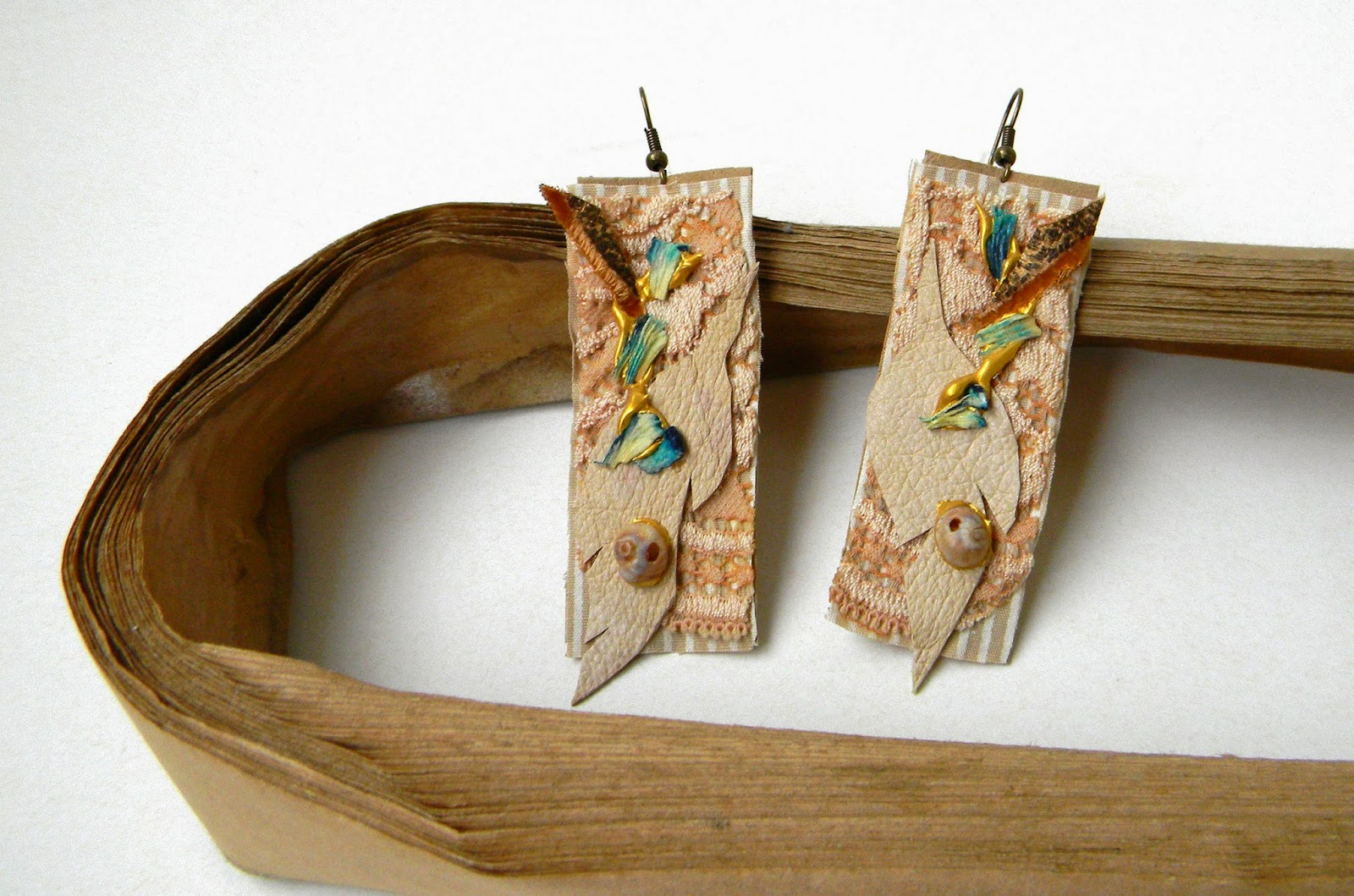Eco Organic Earrings, Textile and Leather Jewelry