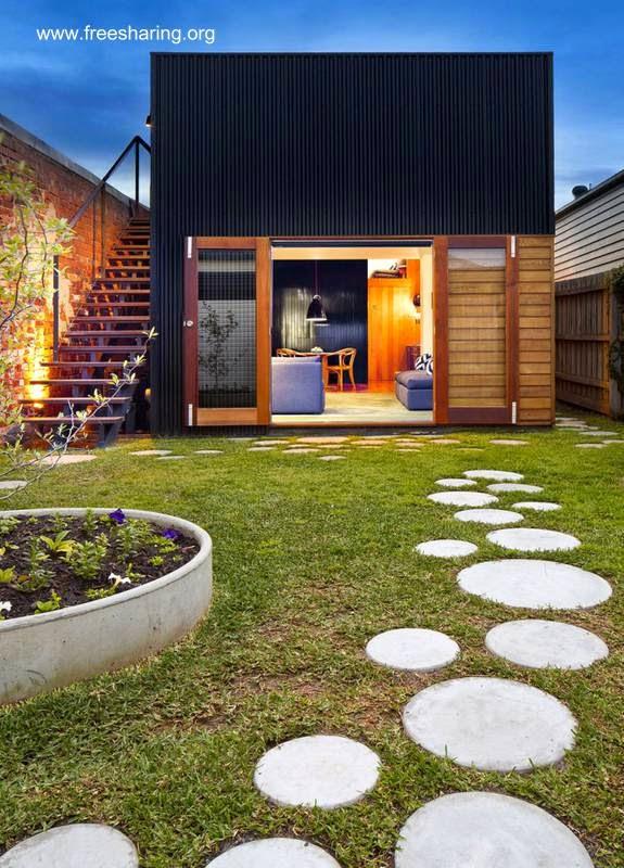 Discos de concreto como sendero de jardín