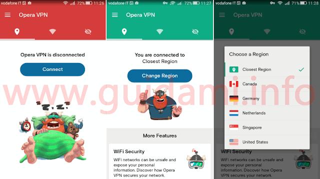 Connettere Opera VPN Android e cambiare nazione