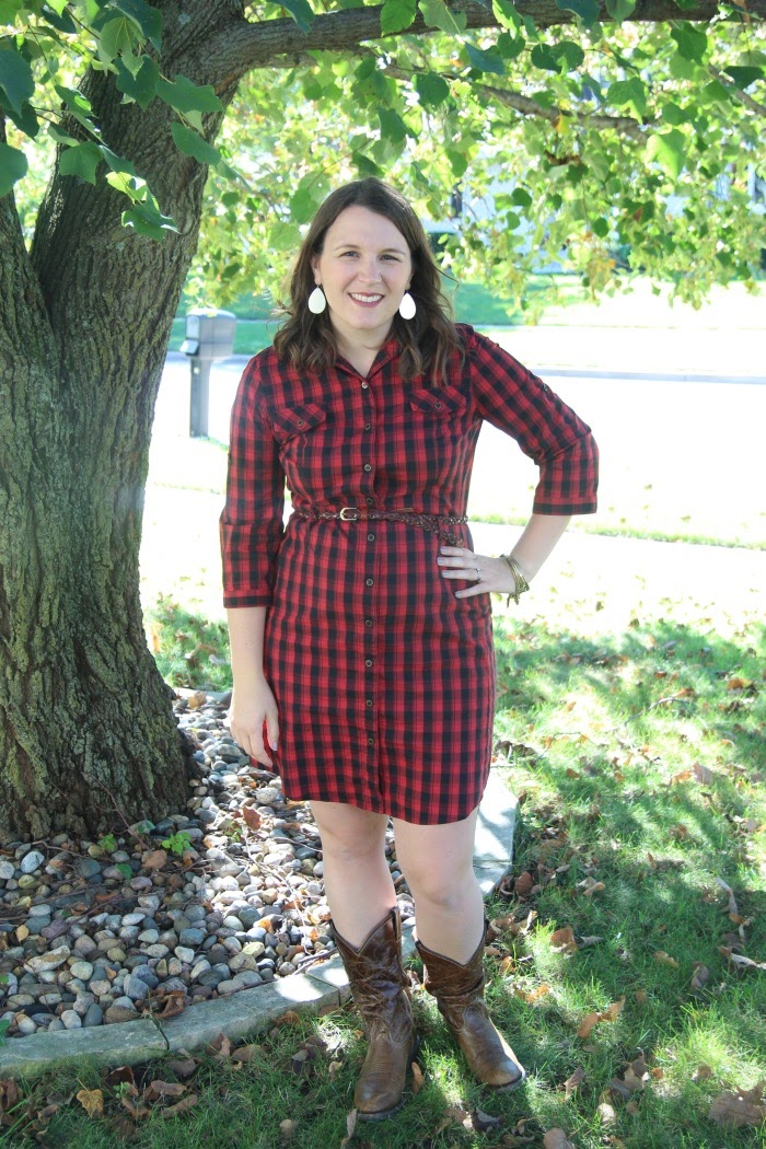 fec586a1c35 bybmg  Thrifted Plaid Shirt Dress for Fall