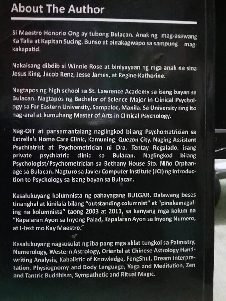 Maestro Honorio Ong: Ang Sikreto ng Gayuma, Ibinulgar