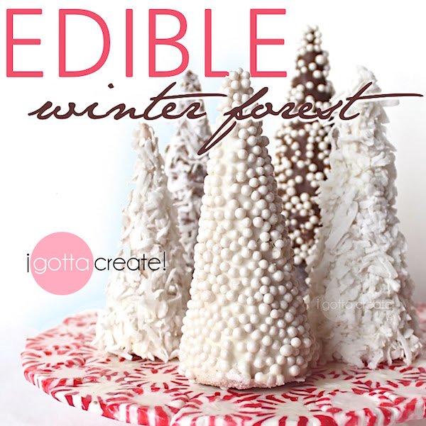 Beautiful! How to make an edible winter forest for the holidays. | Candy forest tutorial at I Gotta Create!