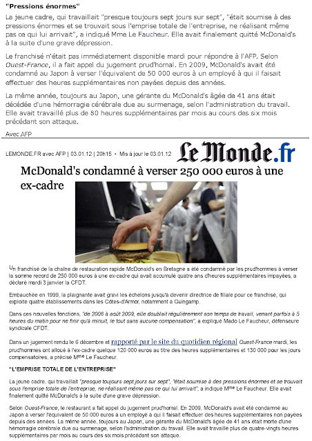 mcdonald 39 s condamn payer 250 000 euros une ex employ e lnerr. Black Bedroom Furniture Sets. Home Design Ideas
