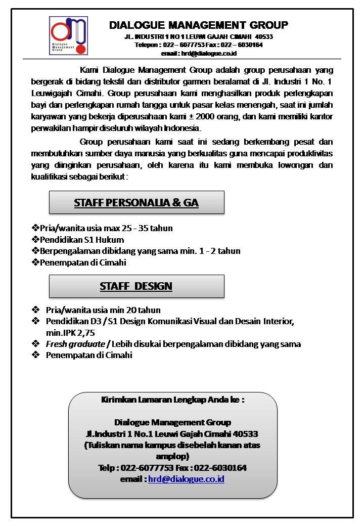 Lowongan Kerja PT. Dialogue Management Group Bandung Januari 2017