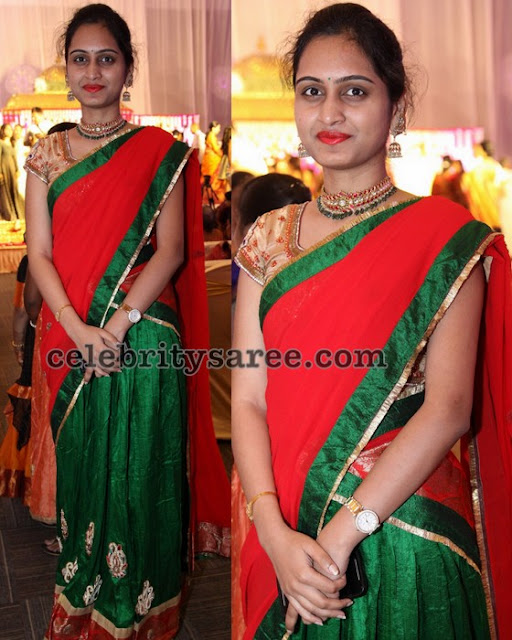 Raw Silk Green Red Half Saree