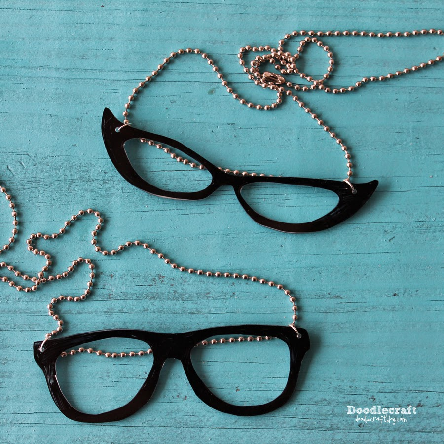 Doodlecraft Geek And Cat Eye Glasses Necklaces