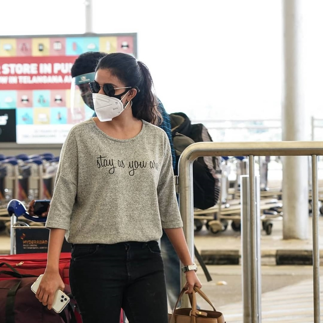 Keerthy Suresh in the Mask with Stunning Walk Style at Hyderabad Airport 5