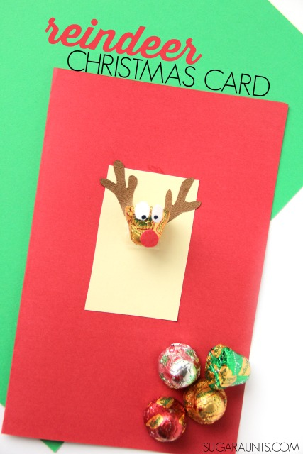 Kids will love to make and give this handmade Reindeer Christmas card using chocolate bell candy.