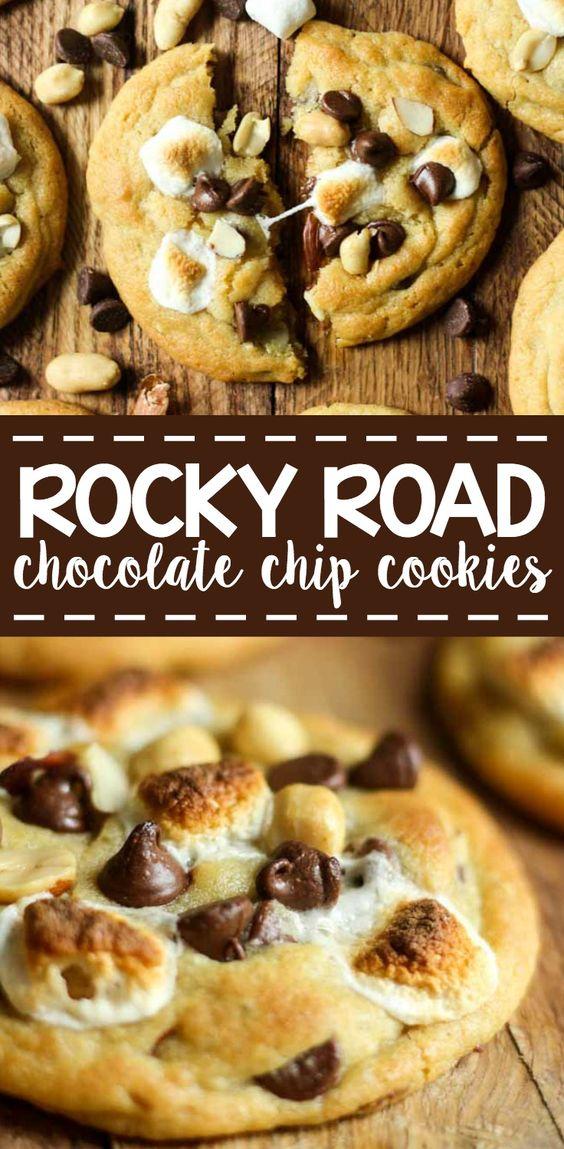 ROCKY ROAD COOKIES #rocky #cookies #chocolate #chocolatechip #cookierecipes #easycookierecipes