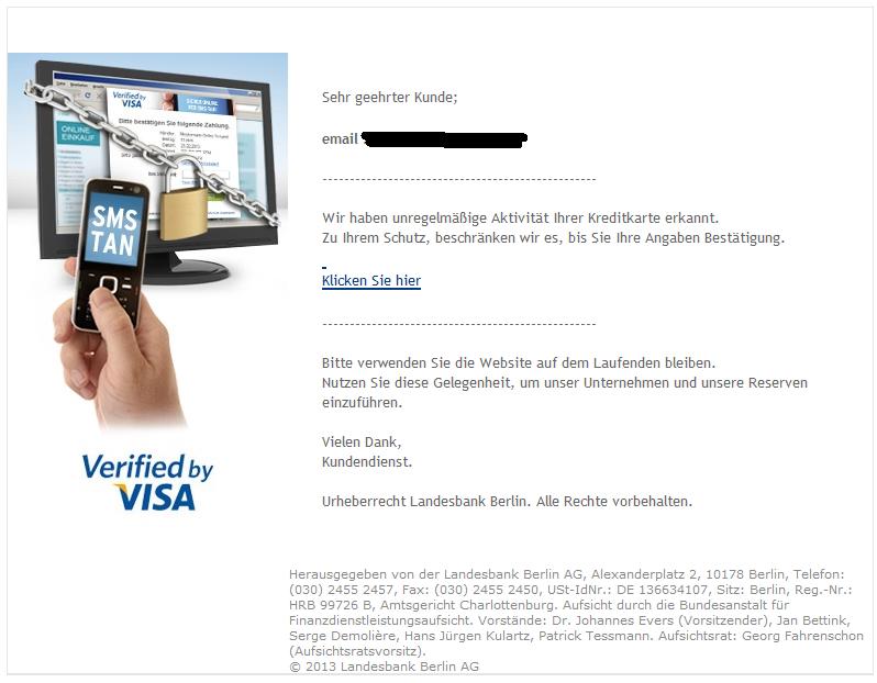 phishing mail alerts ihr lbb karte wurde gesperrt. Black Bedroom Furniture Sets. Home Design Ideas