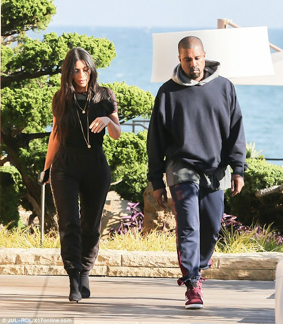 Image result for Kim Kardashian and Kanye West step out for lunch date in coordinated outfits