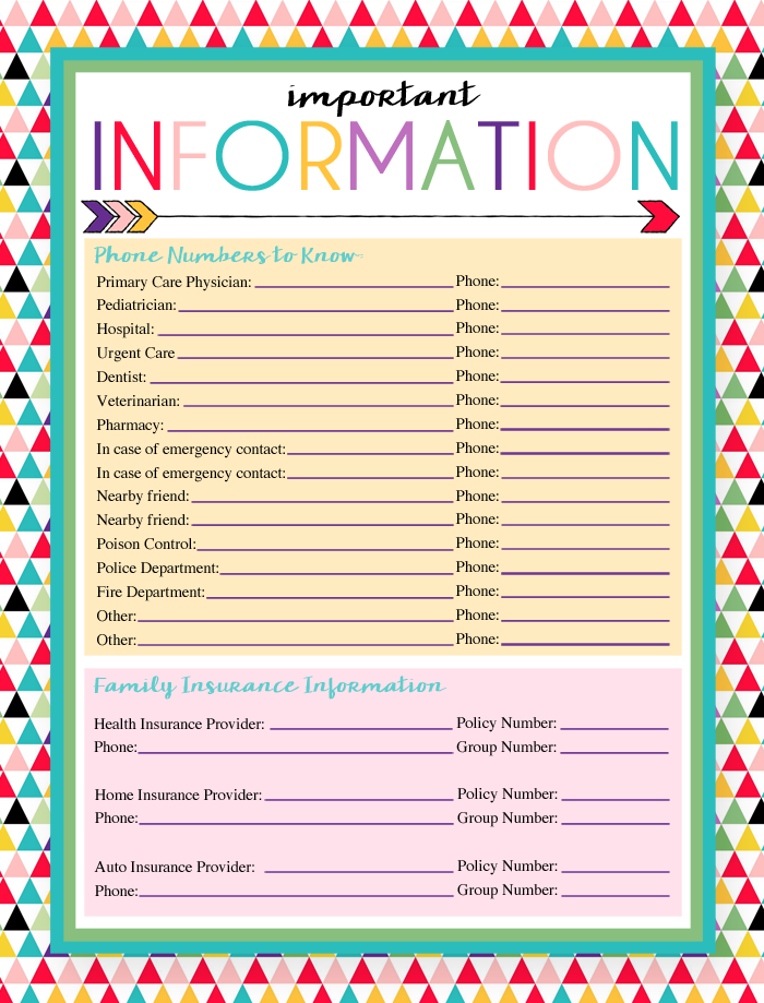 Free Printable Important Information Log | A series of over 30 free organizational printables from ishouldbemoppingthefloor.com | Three Designs & Instant Downloads