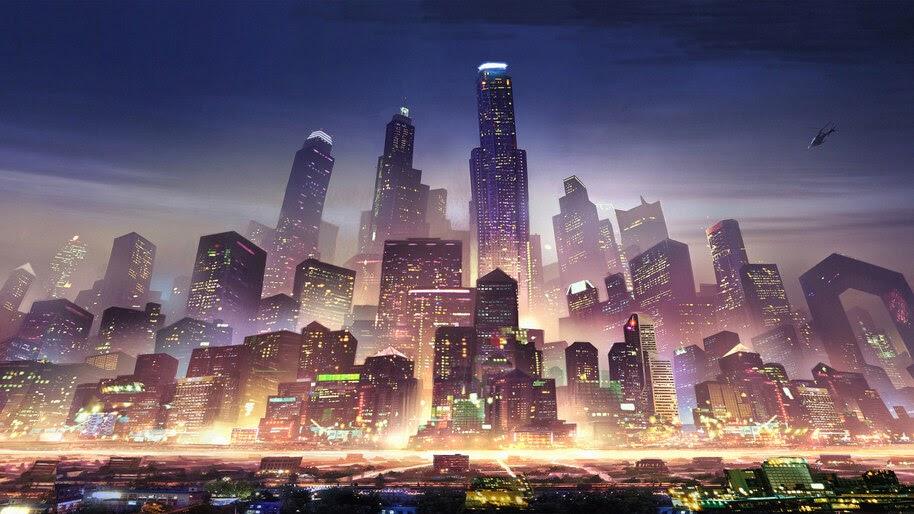 Sci-Fi, City, Night, Skyscraper, Buildings, Metropolis, 4K, #4.1008