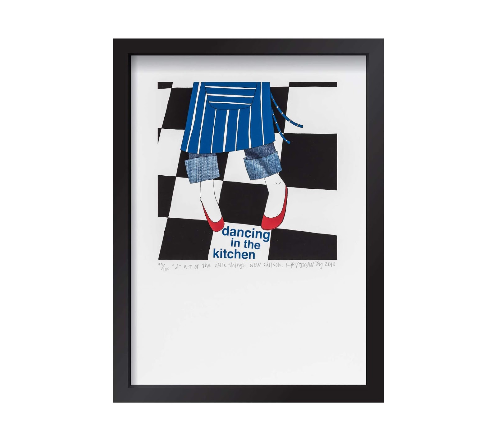 Hannah Broadway celebrates one of the little things in life with this signed A4 framed 'Dancing in the Kitchen' prints.