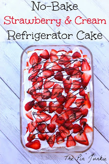 strawberry and cream no bake refrigerator cake recipe