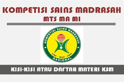 Kisi-Kisi KSM 2019 (Kompetisi Sains Madrasah) PDF MI MTs MA