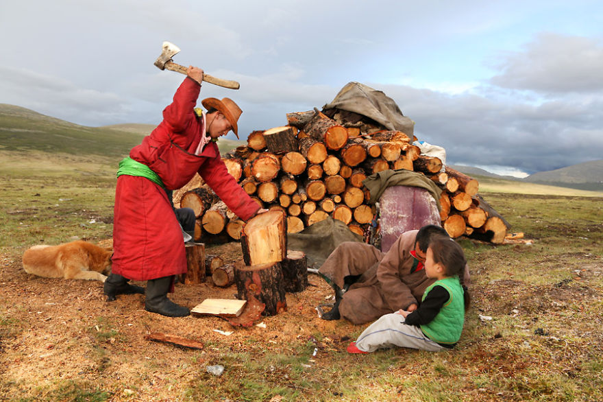 Cutting wood for the daily needs - Meet The Tsaatan Nomads In Mongolia Who Live Like No One Else