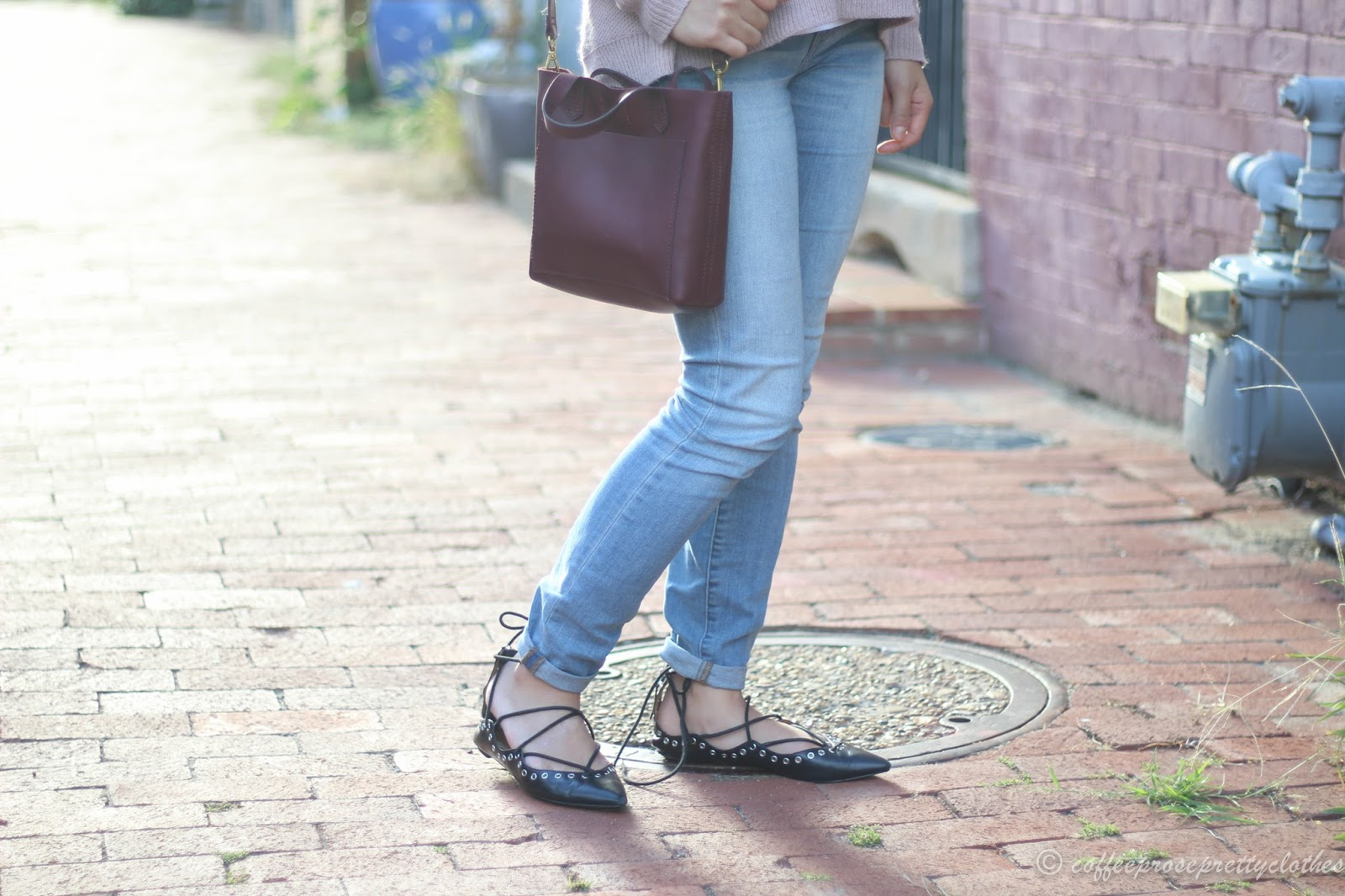 Cross back sweater Madewell, Zara Lace Up Flats, Madewell 8 inch jeans, Madewell Small Transport Crossbody