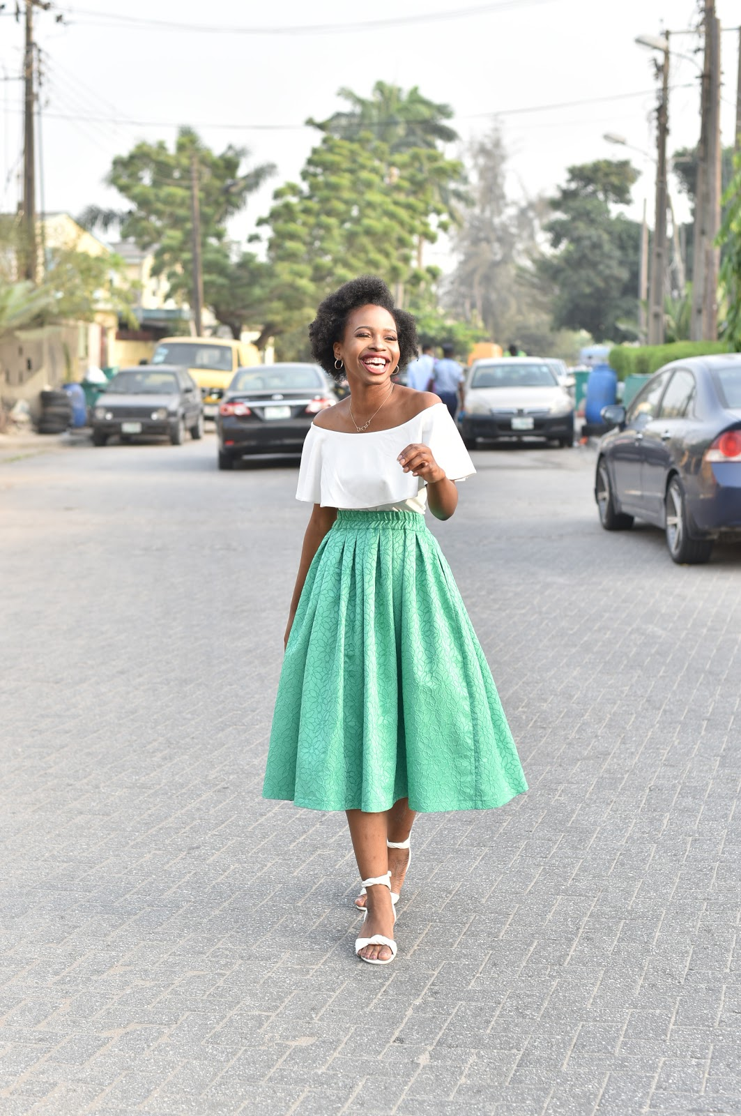Green Midi Skirt and White Off Shoulder Top