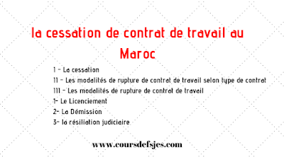 La cessation de contrat de travail au Maroc