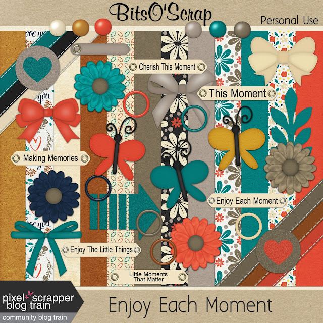 "Free scrapbook ""Engoy each moment"" (boy) from Bits O Scrap"