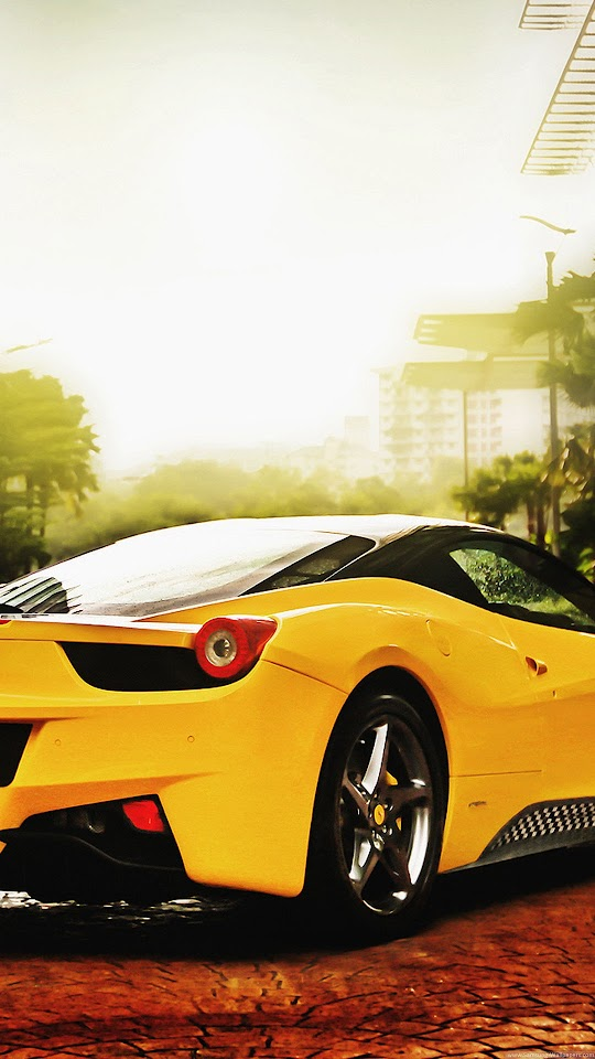 Ferrari 458 Spider Yellow  Galaxy Note HD Wallpaper