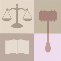 scales, gavel & book symbolizing justice