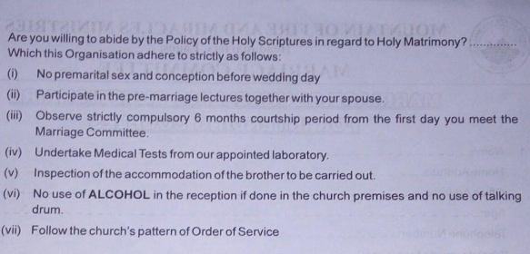 """See """"shocking"""" requirements for marrying at Mountain on Fire church"""