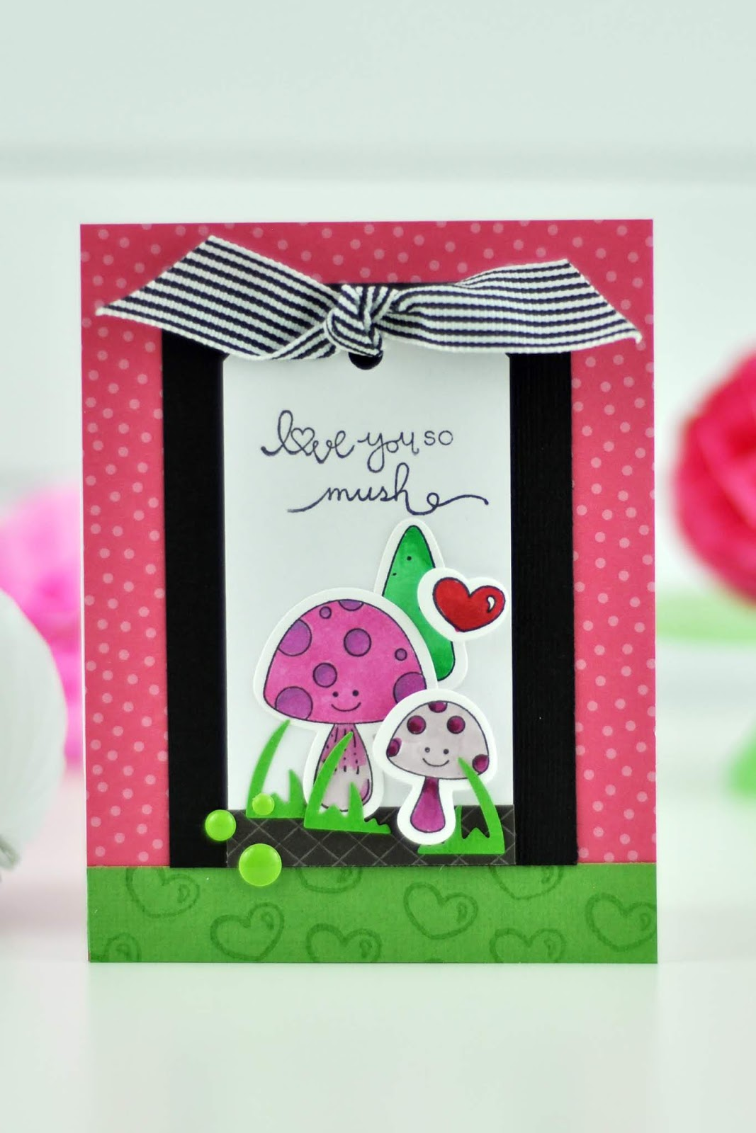 Spellbinders stamped Debi Adams Mushroom Card by Jen Gallacher. Copic colored mushroom stamped card. Coloring mushroom images from Spellbinders. #copicmarkers #stamping #teamspellbinders #jengallacher