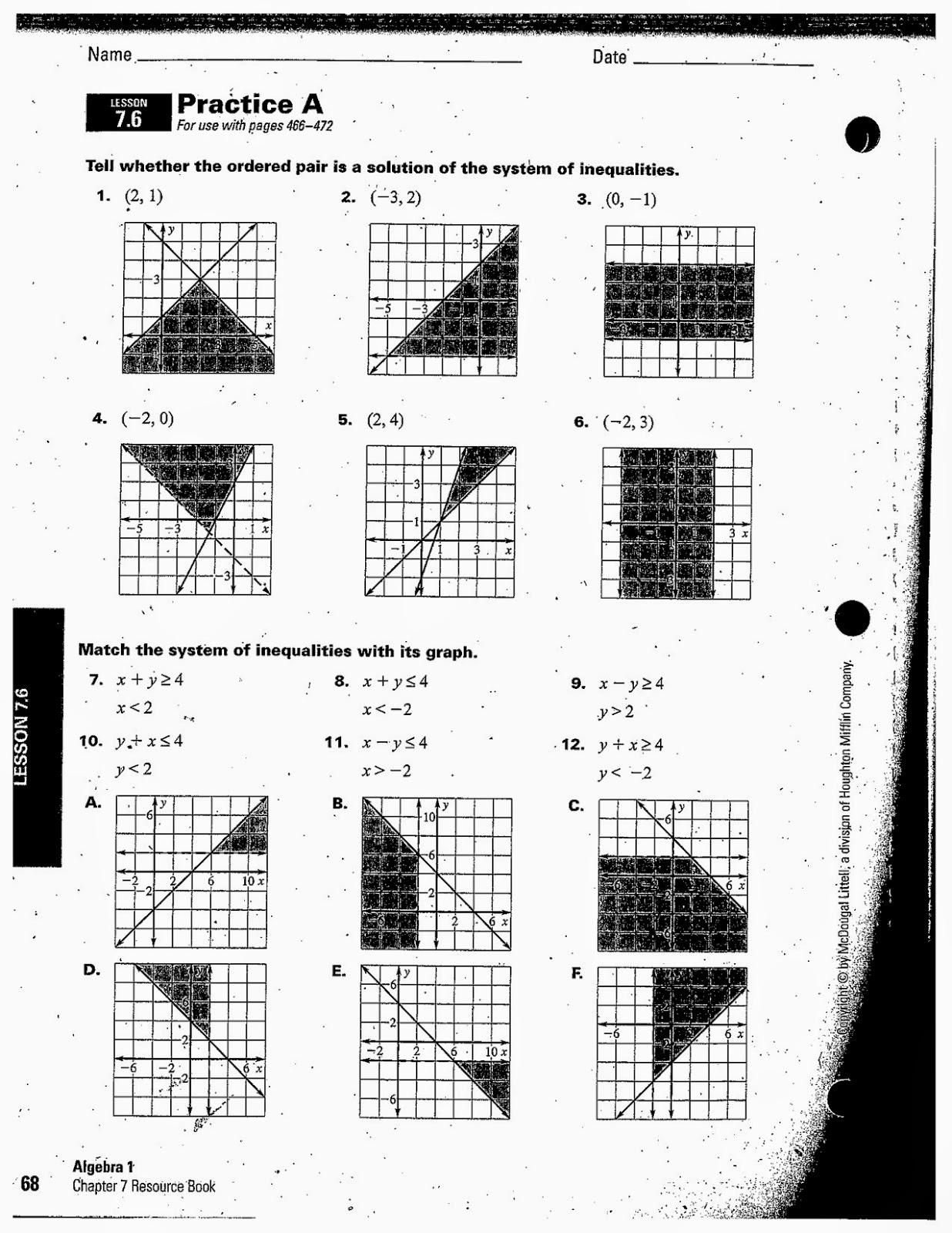 Heidemann 8th Grade Math: 6th Period Algebra 2/26