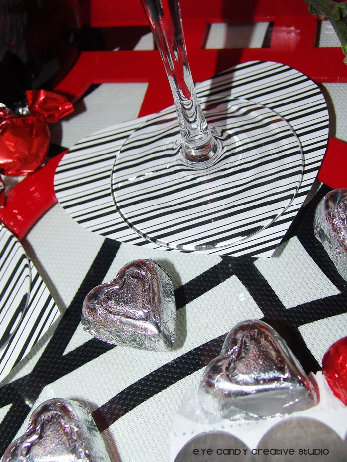 black and whire stripes, heart shaped coaster, FREE Valentines scrapbook paper, heart shaped chocolate