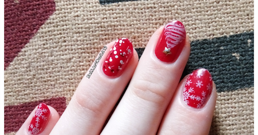 Christmas stamped nail art