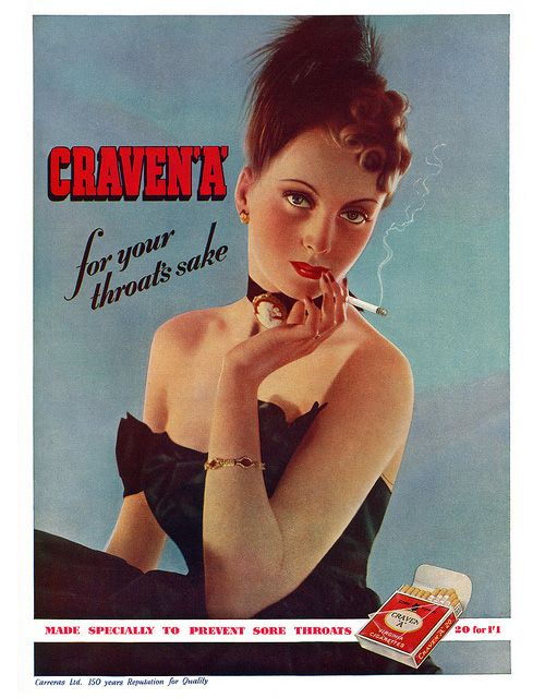 Anuncio vintage con mujer bonita de marca de cigarros