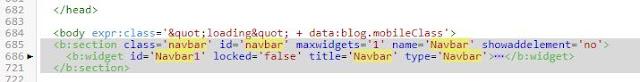 hapus kode navbar blogger