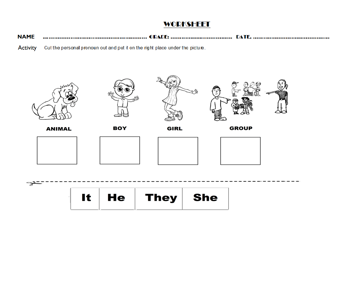 Personal Pronouns Exercises Primary